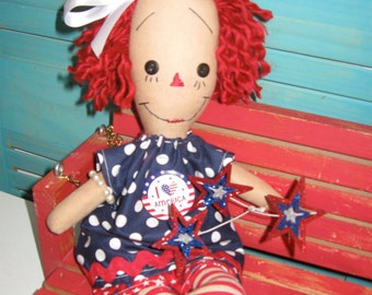 Primitive Red Head Raggedy Americana Patriotic Doll OOAK Handmade