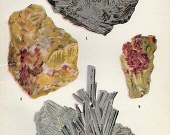 Vintage 1911 Minerals Print Antique Gems Precious Stones print gemstones print, bookplate art print, minerals wall print wall art 4