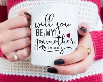 Travel mugs custom coffee mugs and personalized gifts by mugsleys will you be my godmother godmother mug baptism gift personalized godparents gift cute negle Image collections
