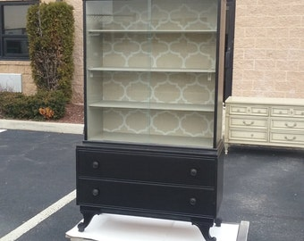 Vintage Custom Painted China Cabinet, storage, breakfront, kitchen, dining room,  pick up & local delivery