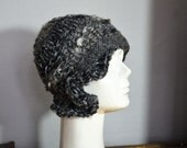 Retro cloche 1920 style grey, Thin knit hat, cable winter beanie, asymmetric soft wool winter, unique ooak hand made art to wear 170