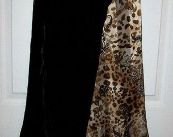 Vintage Ladies Black Silk Velvet Reversible Fringed Scarf by Oscar de la Renta Only 10 USD