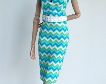Chevron striped dress for Barbie Silkstone Fashion Royalty dolls