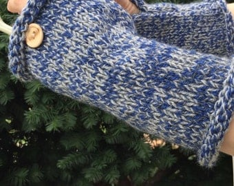 Blue and gray tweed fingerless gloves, knitted women's fingerless texting gloves, cozy texting gloves, chunky texting arm warmers