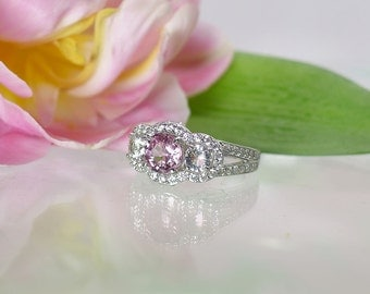 Pink Gemstone Ring, Natural Pink Zircon Gemstone, Sterling Silver, Natural Pink Zircon, Herkimer Diamond Accents
