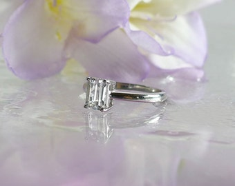 Emerald Cut Ring, Emerald cut solitaire ring, Emerald Cut Engagement Ring, Emerald Cut Sterling Ring, Herkimer Diamond Ring,