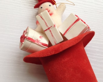 Adorable Vintage Snowman in A Red Hat