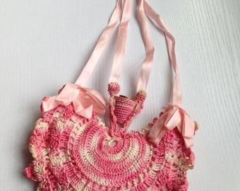 Wonderful Pink Vintage Crocheted Wishbone Pincushion