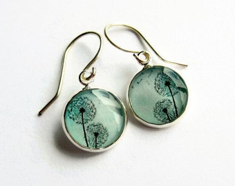 Turquoise Blue Dandelion Seed Sterling Silver Earrings, Picture Jewellery, Dandelion Jewelry, Resin Art, Gift for Her