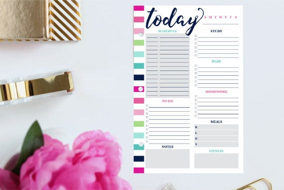 Daily Student Planner, Daily Schedule Planner, Daily Planner Printable Pages, Daily Planner Inserts,Personal Day Planner, Half Size Planner