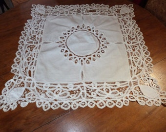 Antique French Richelieu lace tablecloth doily handworked floral lace w drawnwork ecru lace table cloth French table linens arts and craft