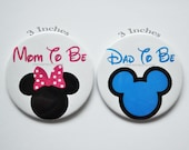 3 Inch Gender Reveal Buttons, Minnie Mom to be, Mickey Dad to be,  Mickey Baby, Minnie Baby shower, Baby Shower Buttons, Mickey baby shower