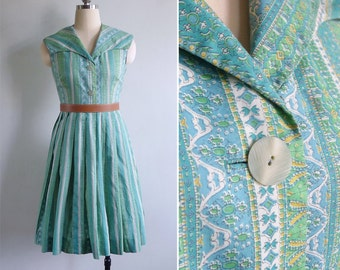 Vintage 50's Shawl Collar Green Striped Cotton Pleated Day Dress XS or S