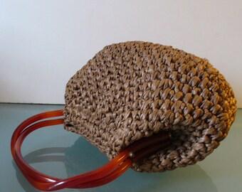 Vintage Cocoa Brown Raffia Morris Moskowitz Handbag