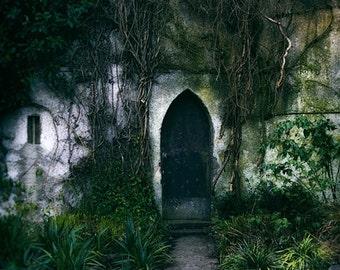 Castle Photograph, Rustic Wall Art, Castle Door Photo, Ireland Photography, Medieval Castle, Green Decor, Door Photograph, Malahide Castle