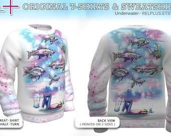 UNDERWATER : Sweatshirt ( or T-Shirt ) * Full-print (on 2 sides) * original art * Best Print Quality ( cotton inside + polyester outside )