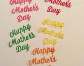 Handmade, 5 Happy Mother's Day words, Orange, Pink, Dark Pink, Green, Yellow,
