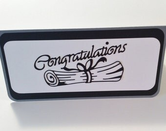 Graduation Money Card, Graduation Cap, Congratulations with Diploma, Handmade, Gray, Black, White, Money,