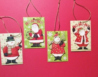 Christmas Tags, 38 Tags, 2 Snowmen, 2 Santa Claus, Hole in Top,