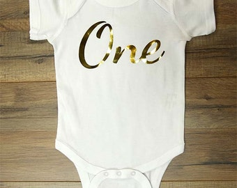Birthday Age 1 Choose Age Number Girl Script One Gold Metallic Print - baby One-piece bodysuit, Infant Tee