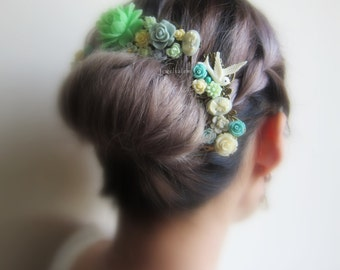 Mint Green Wedding Hair Comb Gold Rustic Floral Bridal Headpiece Aqua Teal Shabby Chic Vintage Wedding Hair Accessories