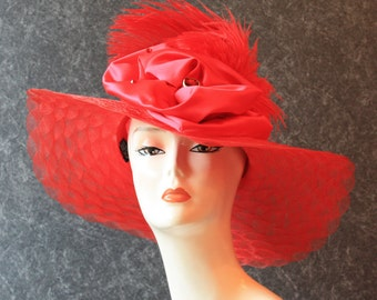 NOW HALF OFF! Kentucky Derby Hat, Garden Party Hat, Tea Party Hat, Easter Hat, Church Hat, Wedding Hat, Derby Hat, hat Red Hat 603