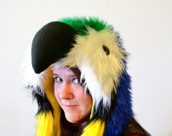 Blue and Gold Macaw Scoodie. Spirit Hood. Parrot Costume. Bird Hat.