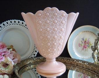 Fenton Pink Milk Glass Vase - Pink Daisy Button Vase - Fenton Pink Milk Glass Daisy Button Vase - Pink Milk Glass Vase - Pink Wedding Vase