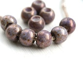 Big hole round beads, Purple Picasso czech glass beads, large hole - 12mm - 10Pc - 2494