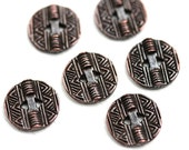 6pc Round Copper Buttons, Geometric Metal buttons, rustic greek casting beads, Lead Free, 13mm  - F392