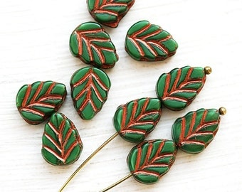 Leaf beads - dark Green, copper inlays, Czech glass pressed leaves - 11x8mm - 10Pc - 2489