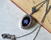 Keepsake Silver Locket Real Pressed Forget Me Not Flower Eco Resin Pendant