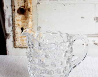 Vintage Fostoria Small Clear Glass Creamer - Pint Cereal Pitcher