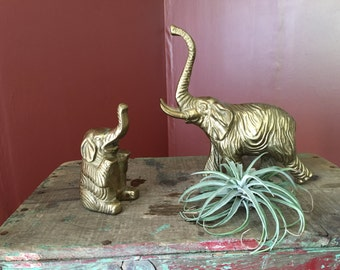 Vintage Pair of Solid Brass Elephant Figurines