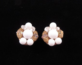 Vintage Clip White Beaded Earrings with Gold Accents
