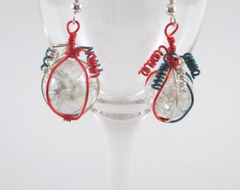 Red Silver and Blue Wire Wrapped Fried Marble Earrings, Sparkly, Curly Top, Patriotic Style