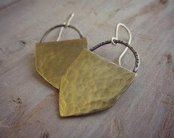 Brass Shield Earrings - mixed metal geometric jewelry