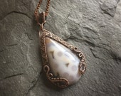 Ocean Jasper in Oxidized Copper - White and Brown Very Earthy Swinging Bail Wirewrapped Pendant - Swinging Bail Design