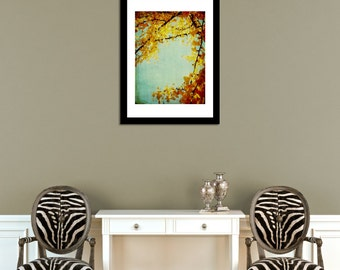 Gold and Orange Autumn Gingko Leaves Photo Print – 5 Sizes Available