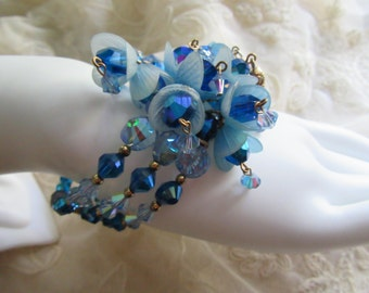 Blue Crystal Bracelet 1950's Memory Wire Bell Flower Caps Vintage Costume Jewelry Garden Party Mad Men MoonlightMartini