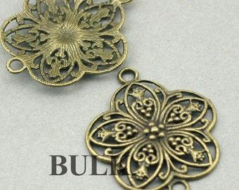 Flower Charms BULK order Links Connector Antique Bronze 10pcs zinc alloy pendnat beads 31X38mm CM0413B