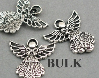 Angel Fairy Charms BULK order Antique Silver 30pcs pendant beads 23X25mm CM0217S