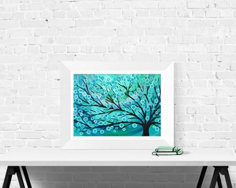 Teal Abstract Tree Print - Wall Art Print in Teal, Turquoise, Green, and Silver by Louise Mead - Fine Art Giclee Print of Whimsical Tree