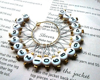 20 Knitting stitch markers white numbers