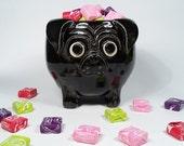 Black Pug Bowl - Candy Dish - Small Planter