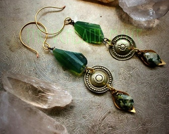 SERPENT'S EYE Earrings with Raw Serpentine, Tribal Buttons Witchy Alchemy Collection