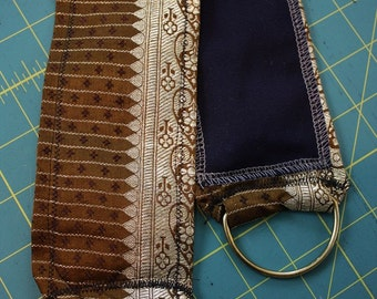 "DIY Belt Base- 35"" Brown and Gold Silk Brocade Sari Tribal Fusion or Tribal Bellydance Costume"