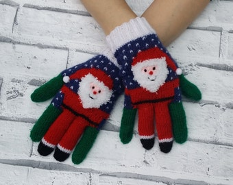 Novelty Santa Gloves Hand Knitted Made To Order Unisex Adult