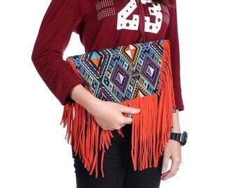 Embroidered Fringe Bag With Removable Leather Strap (BG4390-12C7)