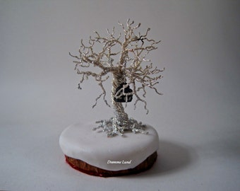 Winter Solace In Silver ~ Wire Tree Sculpture With Glow In The Dark Lantern ~ Winter Wonderland